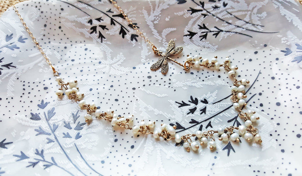 Amelie Antiqued 14K Gold Dragonfly Pearls Necklace