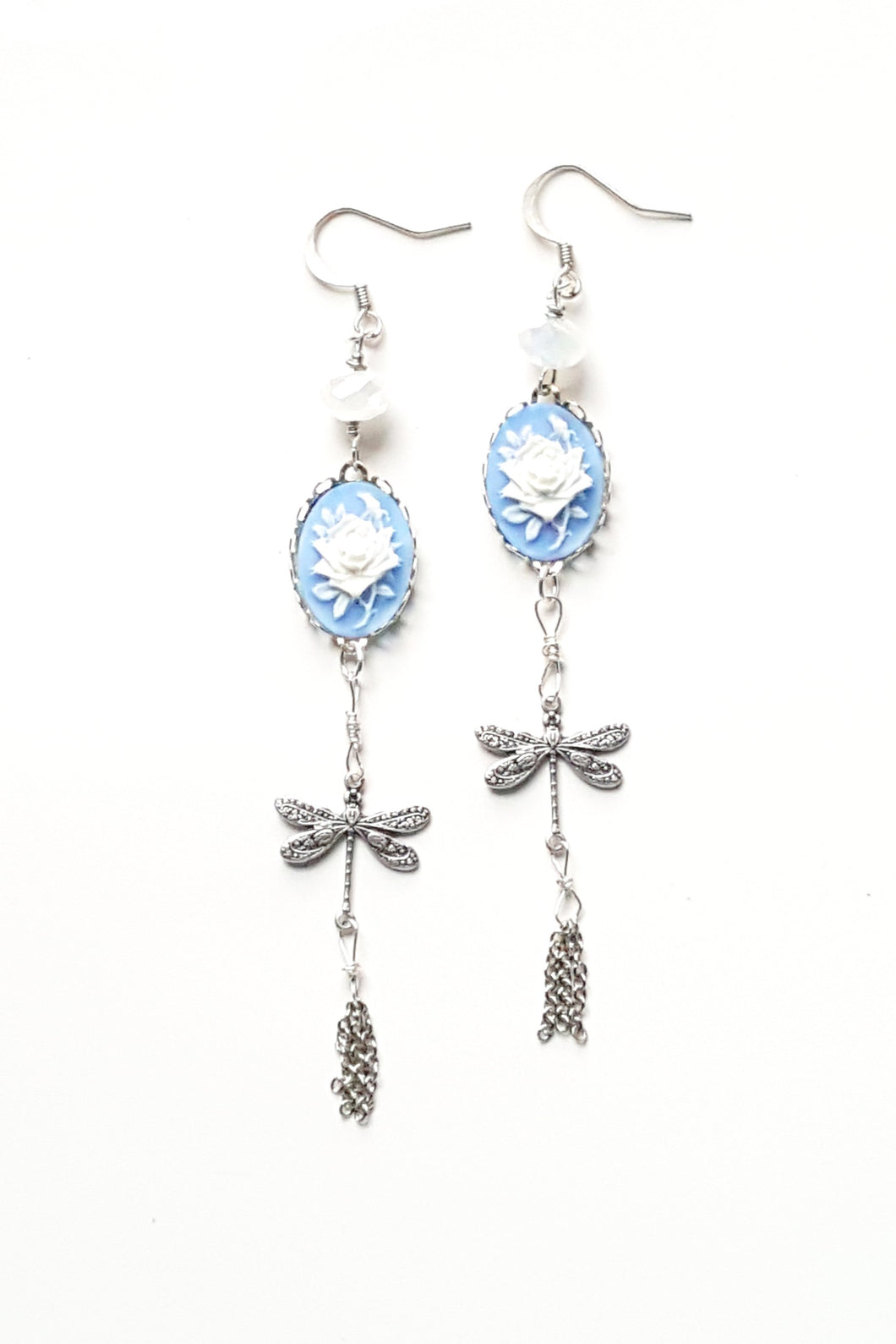 Sterling Silver Dragonflies And Floral Cameo Earrings