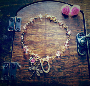 Pink Dragonfly Gold Wirewrapped Bracelet and Stud Set