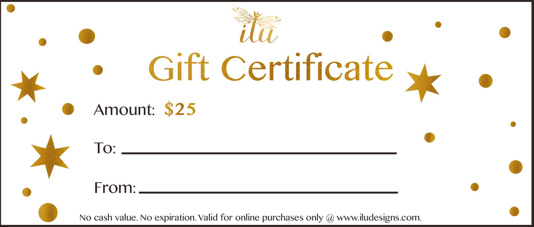 $25 Gift Certificate to spend at ilu