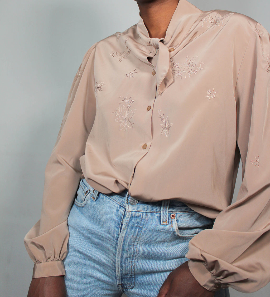 Vintage taupe blouse