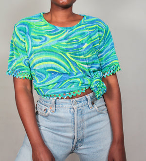 Neon green and blue micro pleats tee