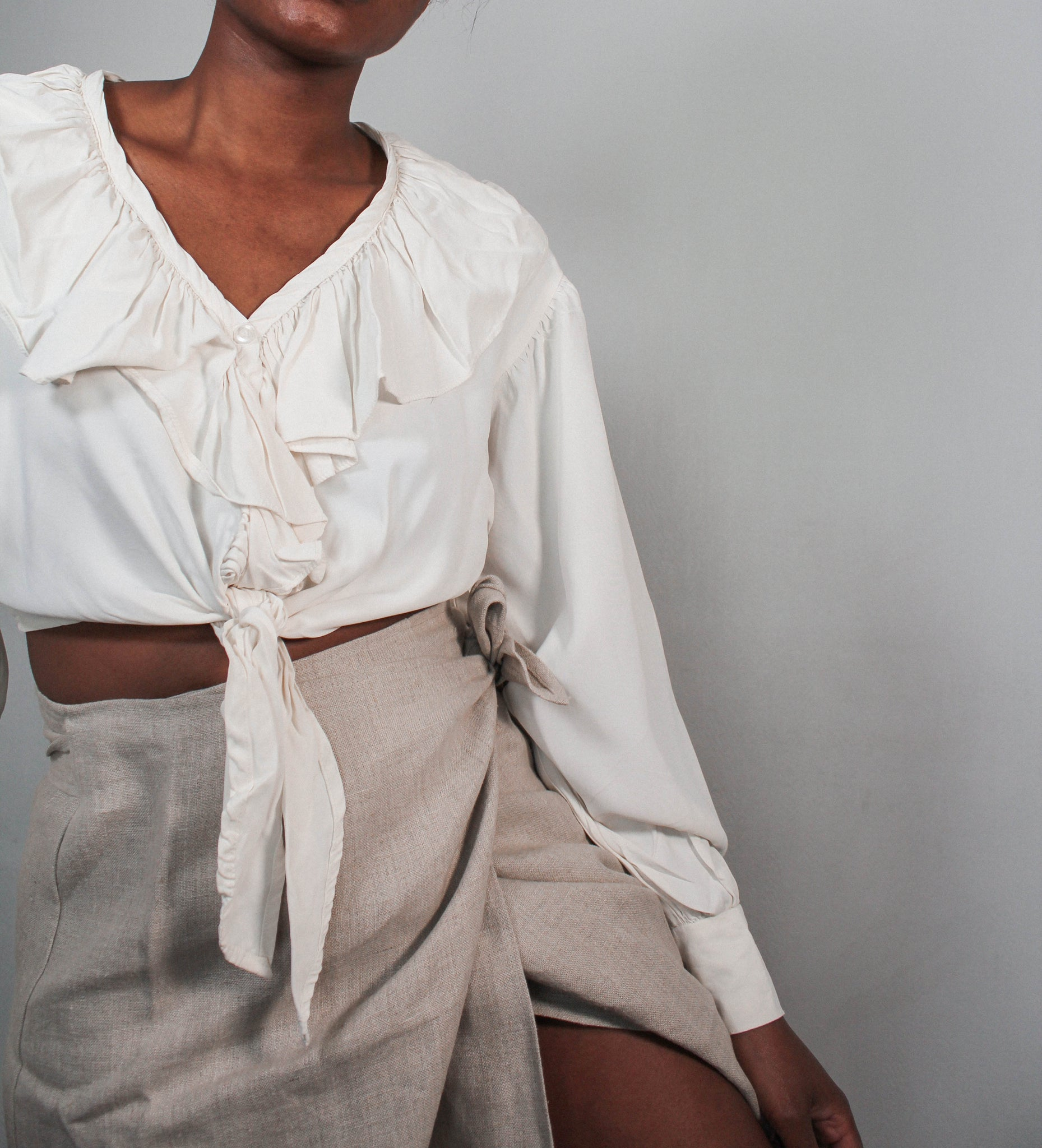 Crop ruffle blouse