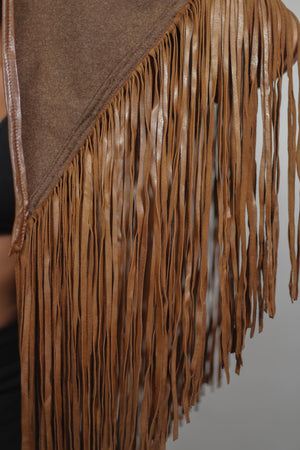 Leather and wool poncho