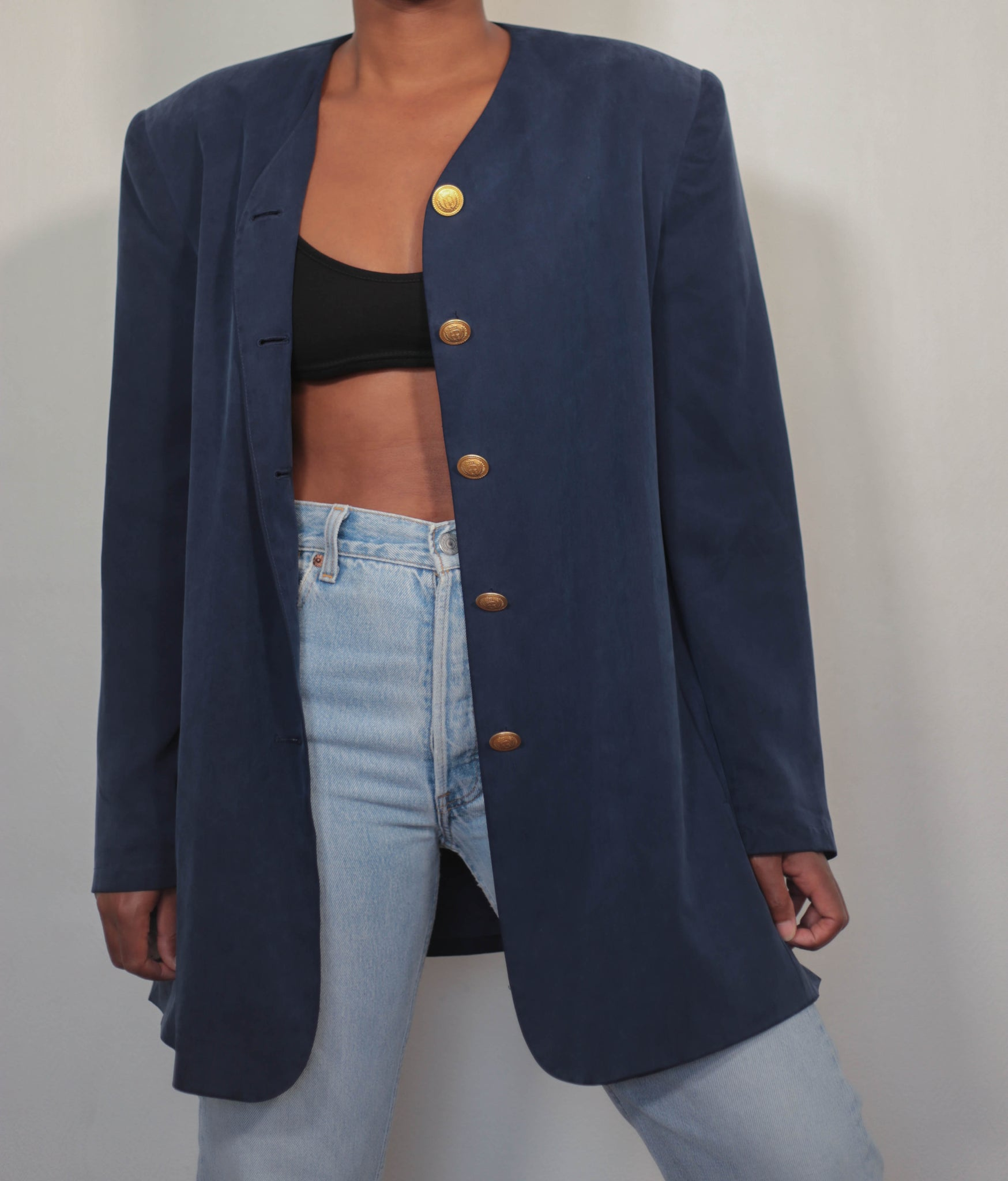 Silk dark blue blazer