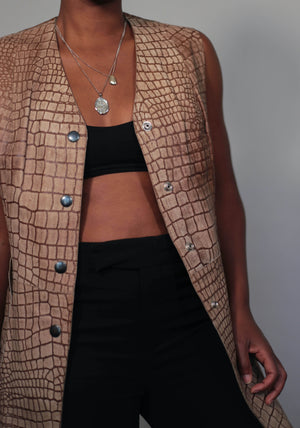 Sleeveless snakeskin vest