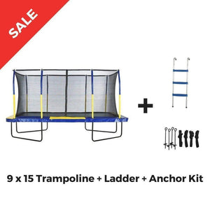 Upper Bounce Rectangle Trampoline 9' x 15' Mega with Enclosure System - G O O L  D E A L S