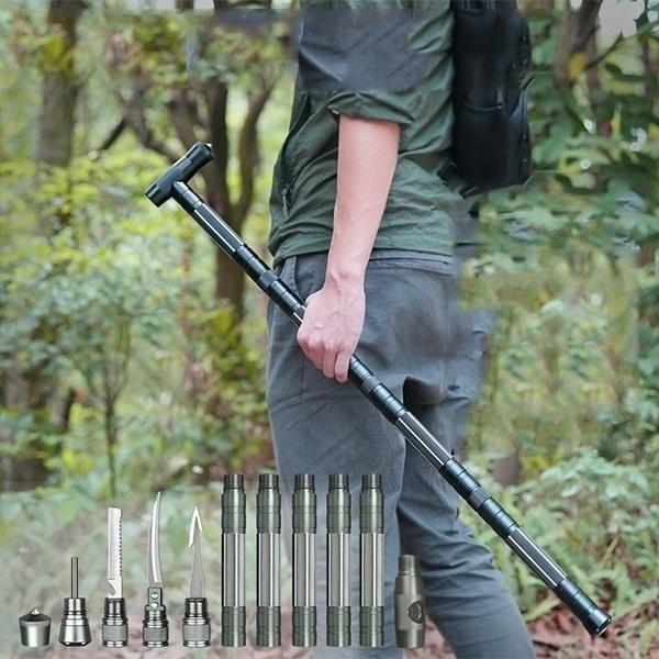 Heavy Duty Collapsible Tactical Survival Walking Stick - G O O L  D E A L S