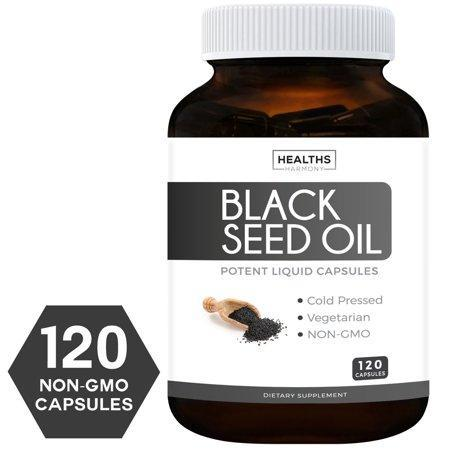 Healths Harmony Black Seed Oil 120 Softgel Capsules (NON-GMO & Vegetarian) Made from Cold Pressed Nigella Sativa Producing Pure Black Cumin Seed Oil - Made in USA - 500mg ea (1,000mg Per Serving)