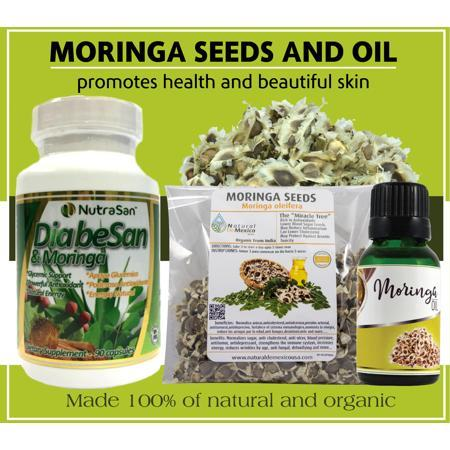 Diabesan Moringa capsules, 300 Moringa Seeds and 1 Organic Edible Moringa Oil
