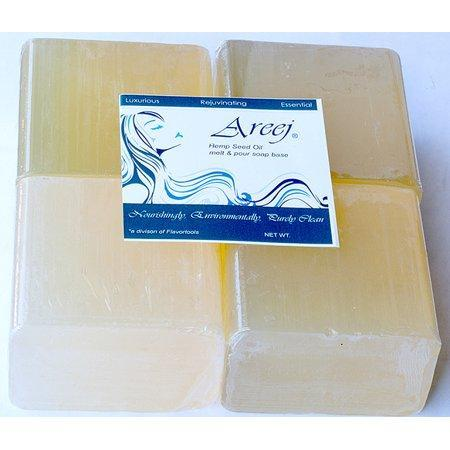 Areej Hypo-Allergenic Biodegradable Hemp Seed Oil Soap Base made with 100% Pure Natural Glycerin - 2 Pounds