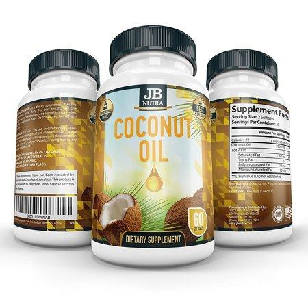 Unrefined Coconut Oil | Extra Virgin | Gel Capsules | Supplement | Cold Press | Vegan | Organic | Non GMO Raw and Pure - 2000mg per serving | Veggie Capsules Made in USA by JB NUTRA