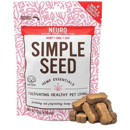 Hemp Neuro Supplement for Dogs for Nerve and Cognitive Support with DMG, DHA, and Hemp Oil by Simple Seed, 30 Soft Chews