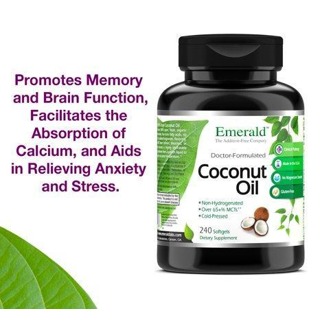 Emerald Laboratories (Fruitrients) - Coconut Oil - 100% Pure Extra Virgin Coconut Oil - Promotes Cholesterol Health, Weight Loss, Immune Support, & Brain Health - 240 Softgels