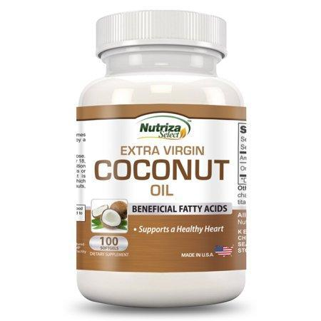 Coconut Oil Capsules - Extra Virgin Organic Coconut Oil Pills - 100 Softgels, 1000mg Each - Cold-Pressed - GMP Certified Facility - Made in the USA