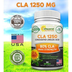 aSquared Nutrition CLA Safflower Oil Supplement (180 Softgel Capsules) - Pure Conjugated Linoleic Acid Weight Loss Diet Pills, Natural CLA 1250mg Plant Derived Seed Complex for Men & Women