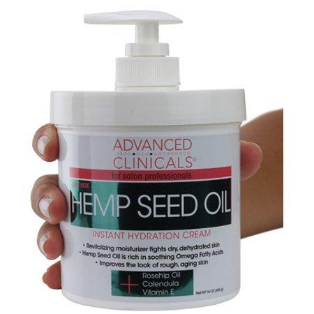 Advanced Clinicals Hemp Seed Lotion. Hemp seed oil cream for dry, rough skin with Rosehip Oil, and Vitamin E.  Large spa size 16oz cream with pump.
