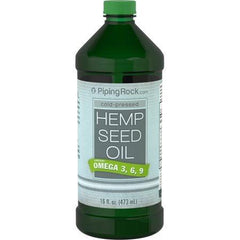 Piping Rock Hemp Seed Oil Cold Pressed with Omega 3, 6 & 9 (16 fl oz - 473 mL) Bottle Dietary Supplement