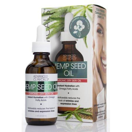 Advanced Clinicals Hemp Seed Oil for Face.  Cold Pressed Cannabis Sativa oil instantly hydrates skin and helps with Wrinkles, Fine Lines, and Expression Lines.   1.75 FL OZ