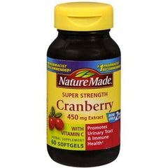 4 Pack - Nature Made Super Strength Cranberry Herbal Supplement 450 mg Extract Softgels 60 Soft Gels