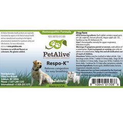 PetAlive Respo-K Tablets - Natural Homeopathic Formula for Pet Respiratory and Cold Symptoms - Reduces Sneezing, Coughing Watery Eyes, Runny Nose and Congestion in Dogs and Cats - 180 Tablets