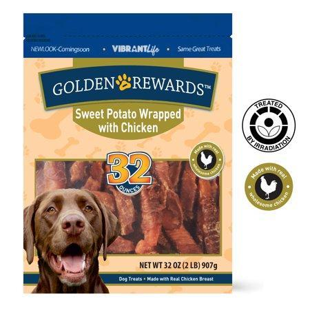 Golden Rewards Sweet Potato Wrapped with Chicken Pet Dog Treats, 32 oz