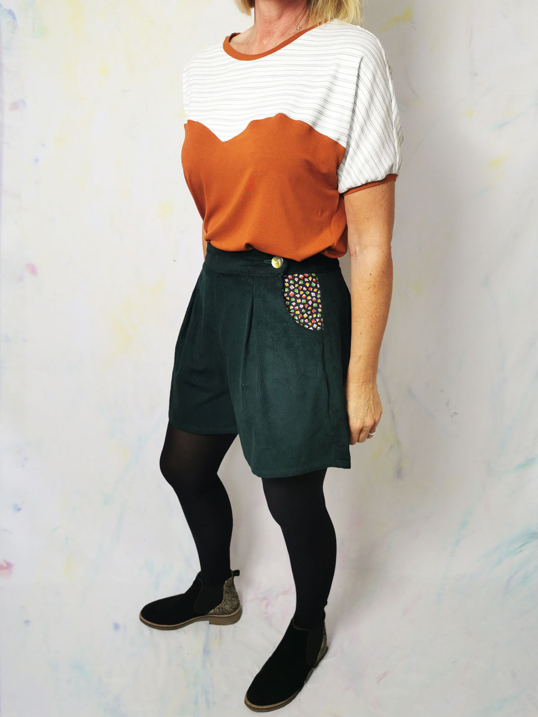 Green Corduroy High Waisted Shorts | Size 12