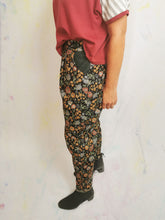 Black Floral Peg Leg Trousers | Size 12