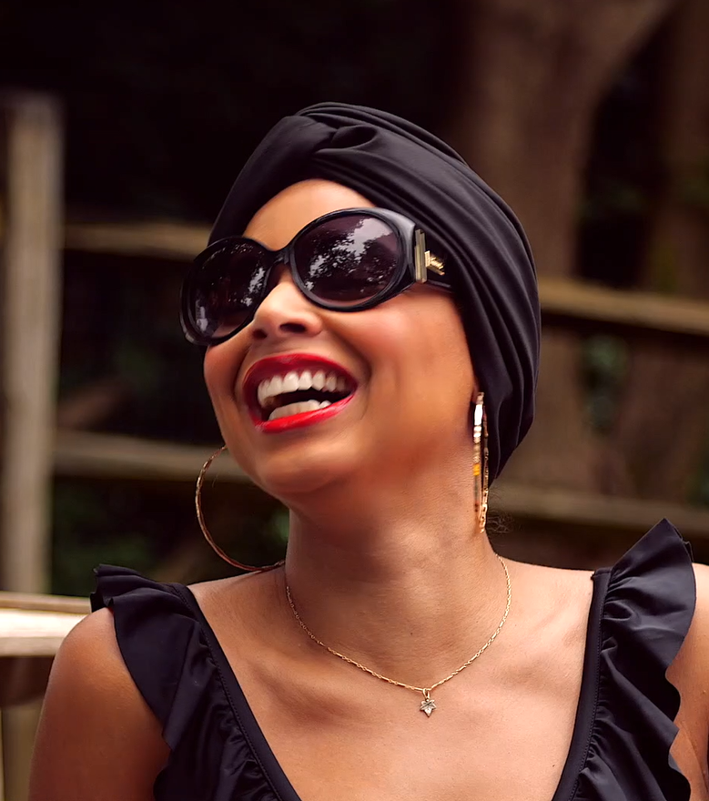 "Our model wearing the AQUA Waterproof ""Vintage Twist"" Turban in Black"