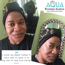 "Load image into Gallery viewer, AQUA Waterproof Headwear, Luxe Banded Turban in Gold and Black ""Baller Rings"" Print, Testimonial"