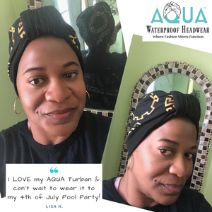 "AQUA Waterproof Headwear, Luxe Banded Turban in Gold and Black ""Baller Rings"" Print, Testimonial"