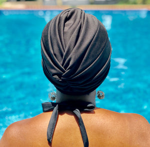 AQUA Waterproof Headwear, Vintage Twist Turban in Black