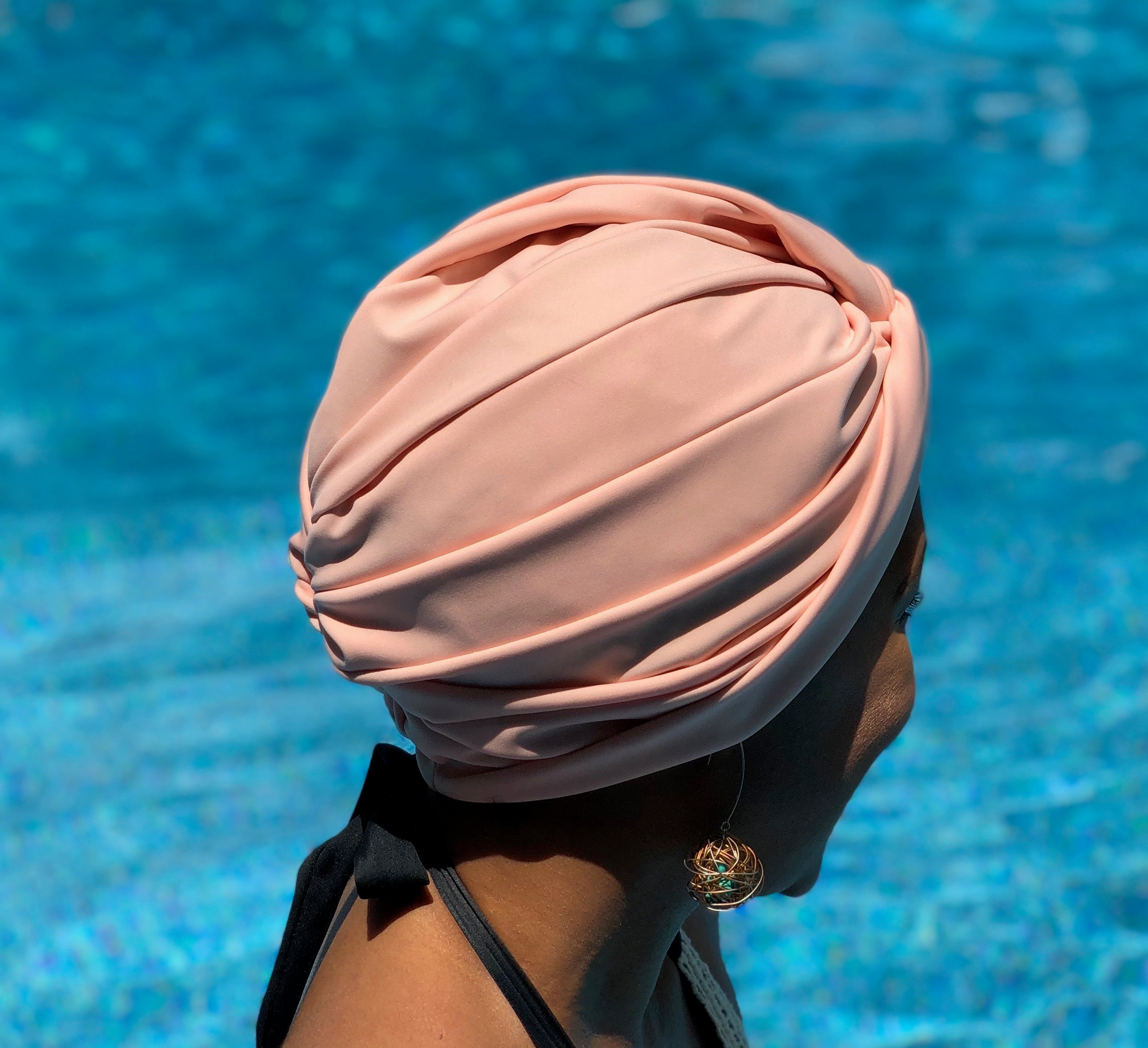 AQUA Waterproof Headwear, Vintage Twist Turban in Blush
