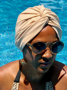 AQUA Waterproof Headwear, Vintage Twist Turban in Sand