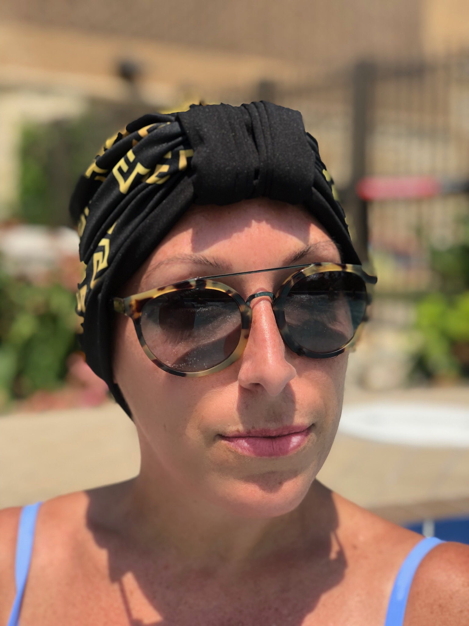 AQUA Waterproof Headwear, Luxe Banded Turban in Gold and Black