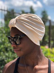 AQUA Waterproof Headwear, Luxe Banded Turban in Sand