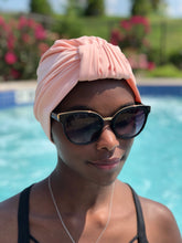 Load image into Gallery viewer, AQUA Waterproof Headwear, Luxe Banded Turban in Blush