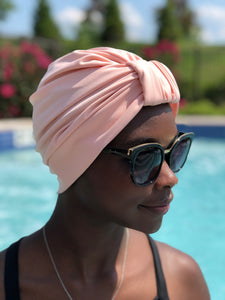 AQUA Waterproof Headwear, Luxe Banded Turban in Blush