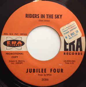 Used - Jubilee Four ‎– Riders In The Sky / Pauline - 7""