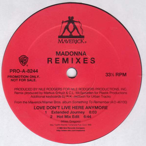 Used - Madonna ‎– Love Don't Live Here Anymore - Remixes - LP