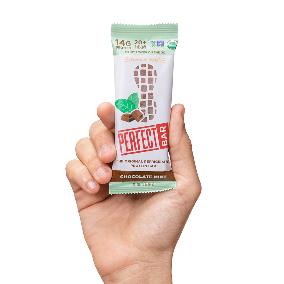 Hand holding Chocolate Mint bar