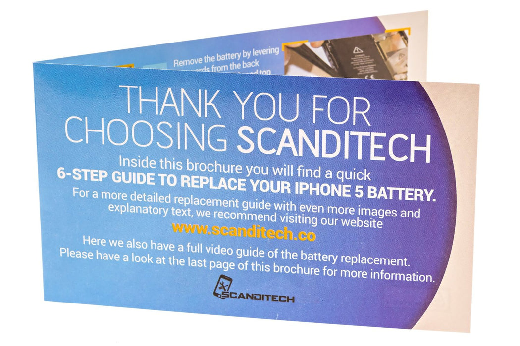 ScandiTech Battery Model iP5 (not 5S, 5C or SE) - With Adhesive & Instructions (no tools)
