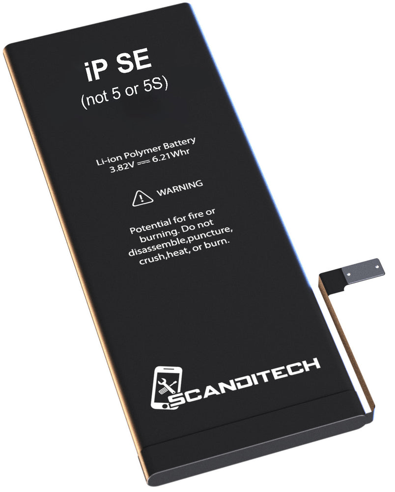 ScandiTech Battery Model SE (not 5, 5S, or 5C) - With Adhesive & Instructions (no tools)