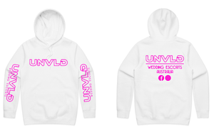 UNVLD OG HOODY PINK ON WHITE