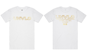 UNVLD OG GOLD ON WHITE SHIRT