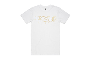 UNVLD SIGNATURE GOLD ON WHITE TSHIRT