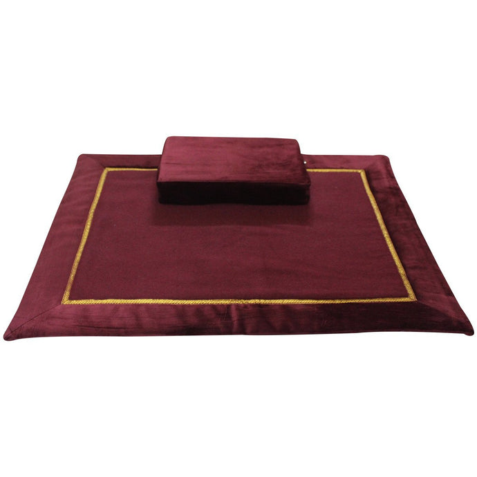 10MM Woolen Meditation and Yoga Mat with Silk Border – Maroon