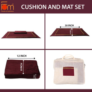 Specifications - 10MM Woolen Meditation and Yoga Mat with Silk Border – Maroon