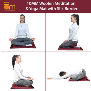 Applications - 10MM Woolen Meditation and Yoga Mat with Silk Border – Maroon