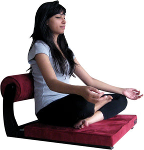 Girl Meditating on Buddha Paradise Meditation Chair – Maroon